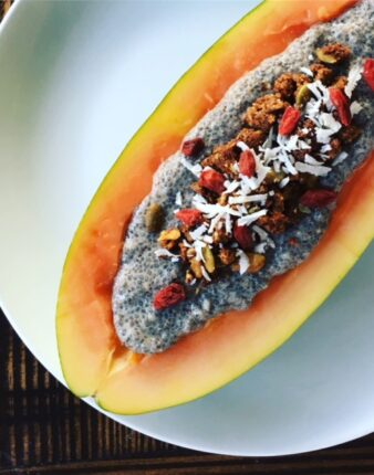 Chia Pudding Papaya Boat