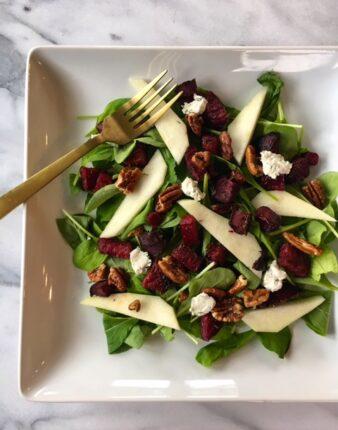 Roasted Beet & Arugula Salad with Maple Dijon Vinaigrette