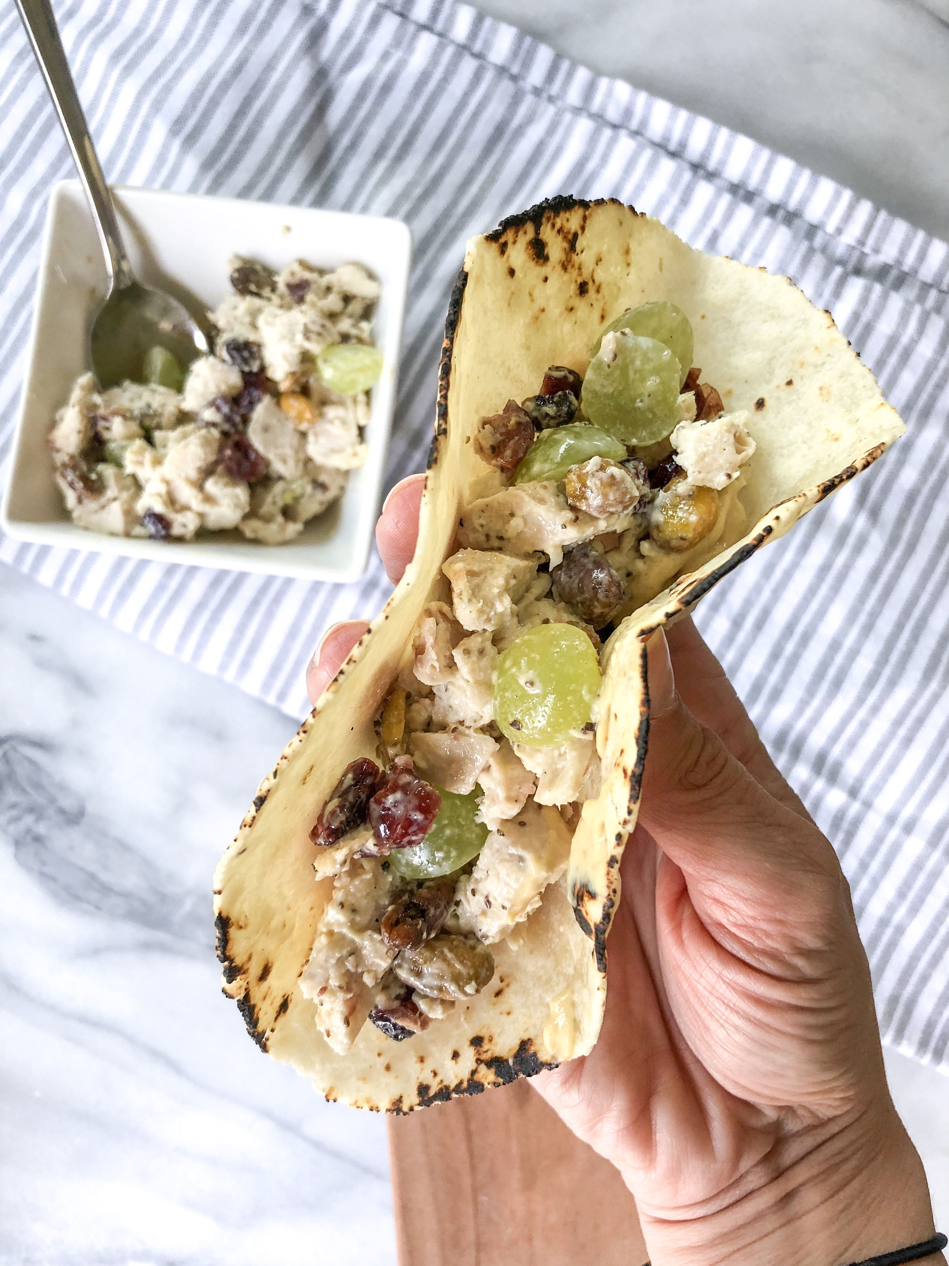 sweet and savory chicken salad on a grain free tortilla