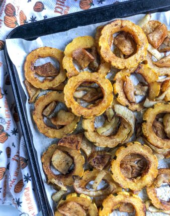 Sweet & Spicy Delicata Squash with Apples & Onions