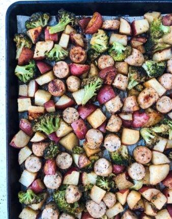 Sausage, Potato & Broccoli Sheet Pan Supper {Whole30}