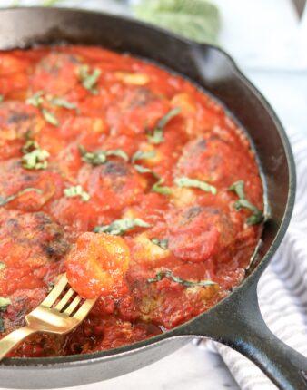 Skillet Pesto Meatball & Gnocchi Bake