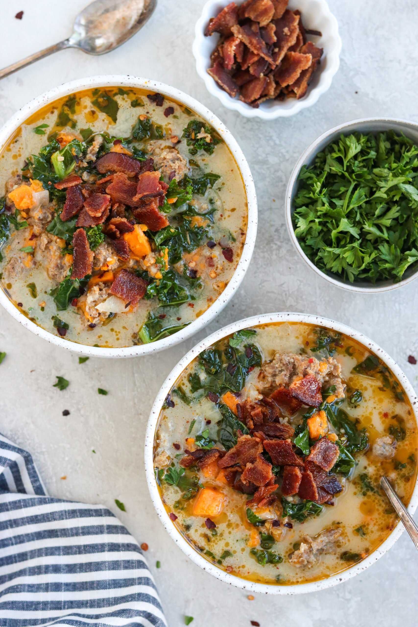 2 bowls of Whole30 Zuppa Toscana