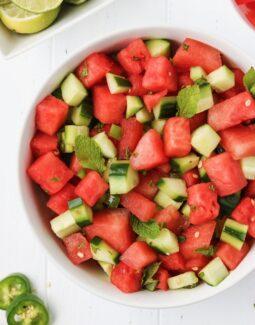 Whole30 Watermelon Cucumber Salad