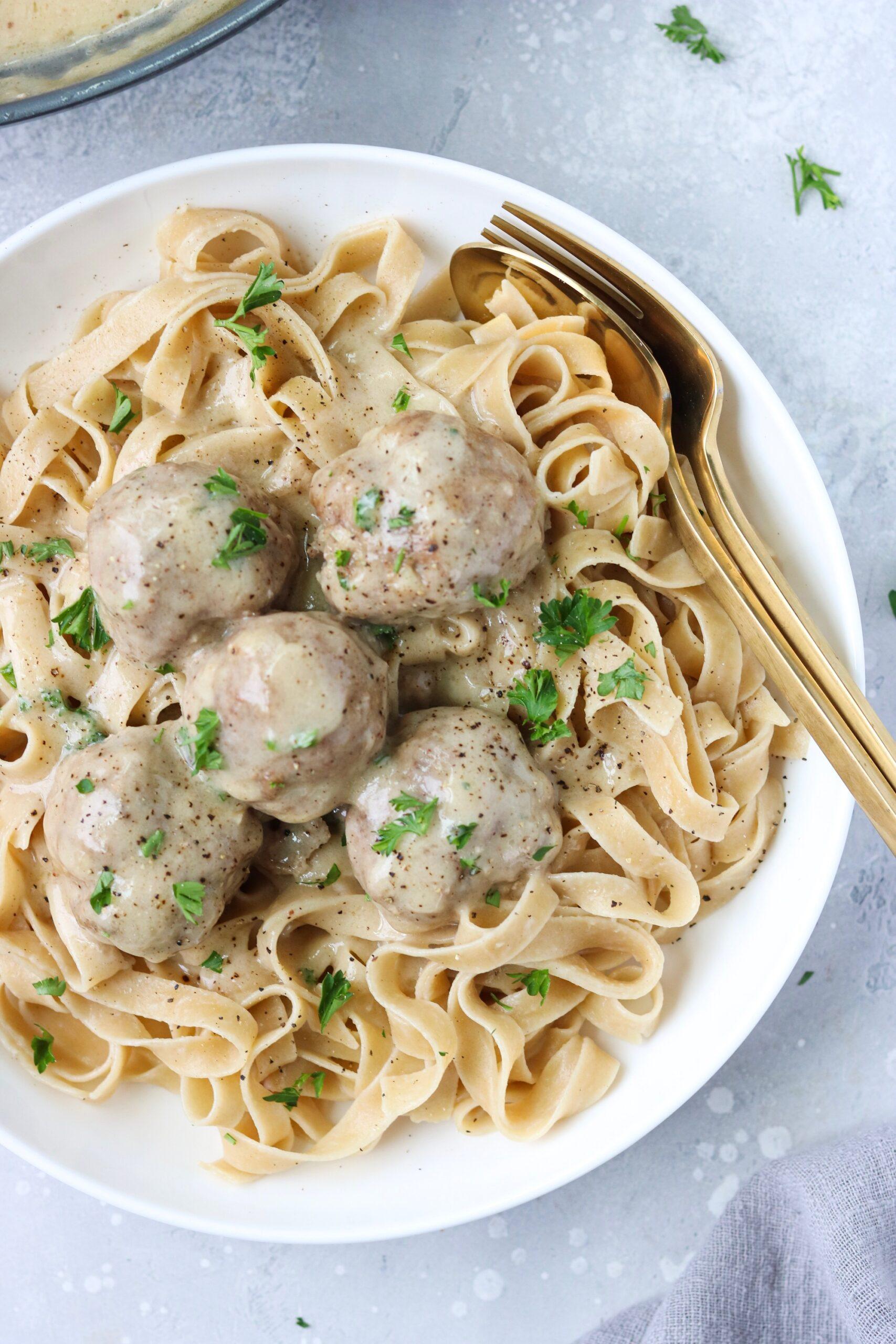 Gluten free Swedish meatballs over pasta