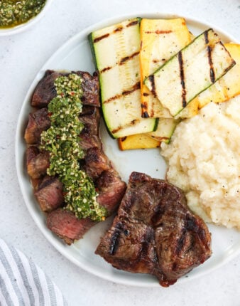 Grilled New York Strip with Chimichurri Sauce (Whole30, Paleo)