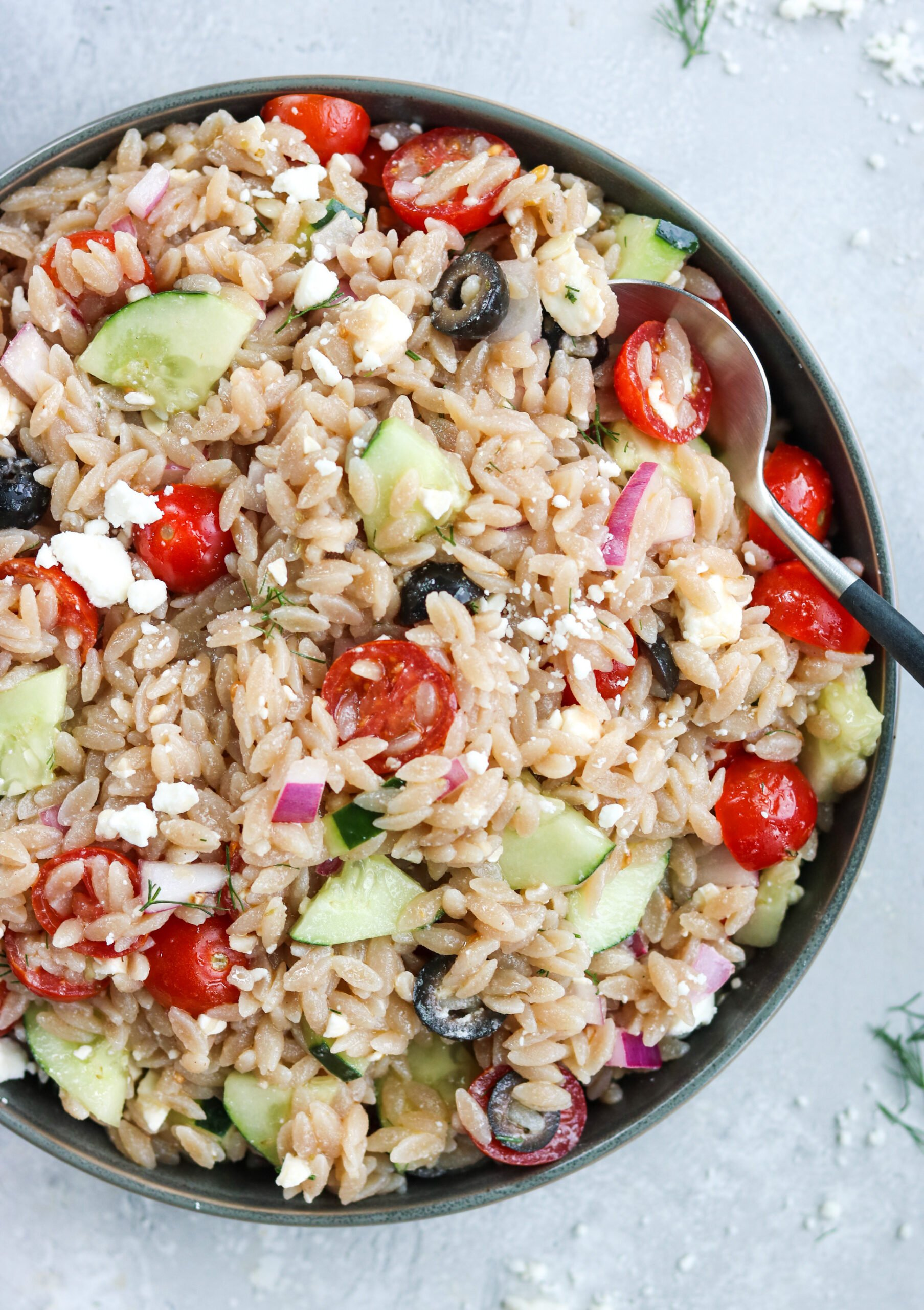 Grain free greek orzo pasta salad