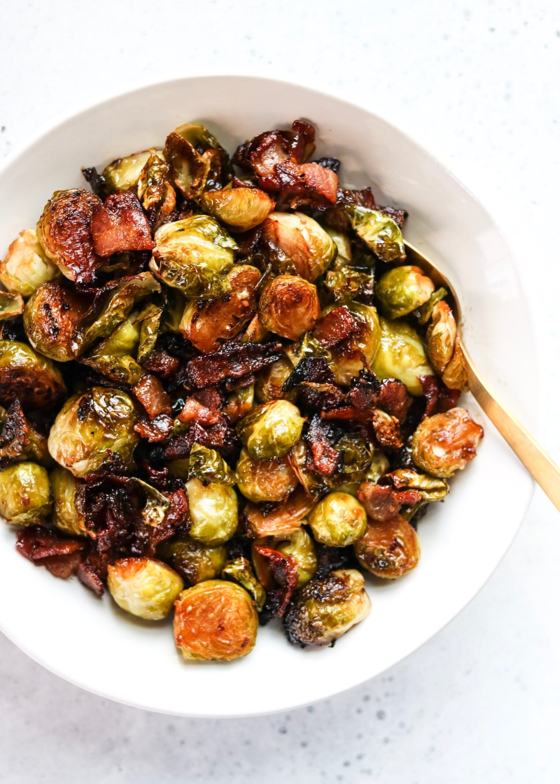 soy glazed Brussels sprouts with bacon