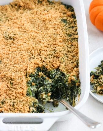Paleo Creamy Spinach Casserole (Dairy Free)