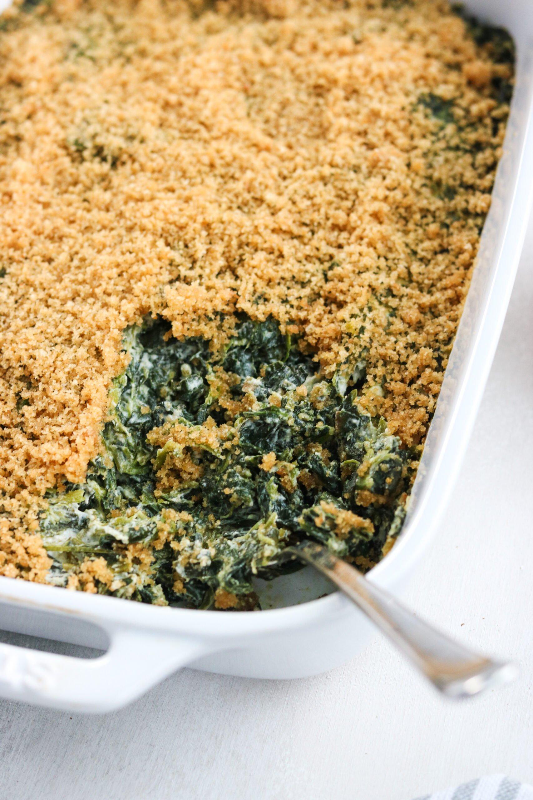 Dairy free spinach casserole