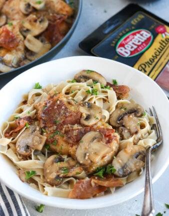 Paleo Chicken Marsala with Prosciutto