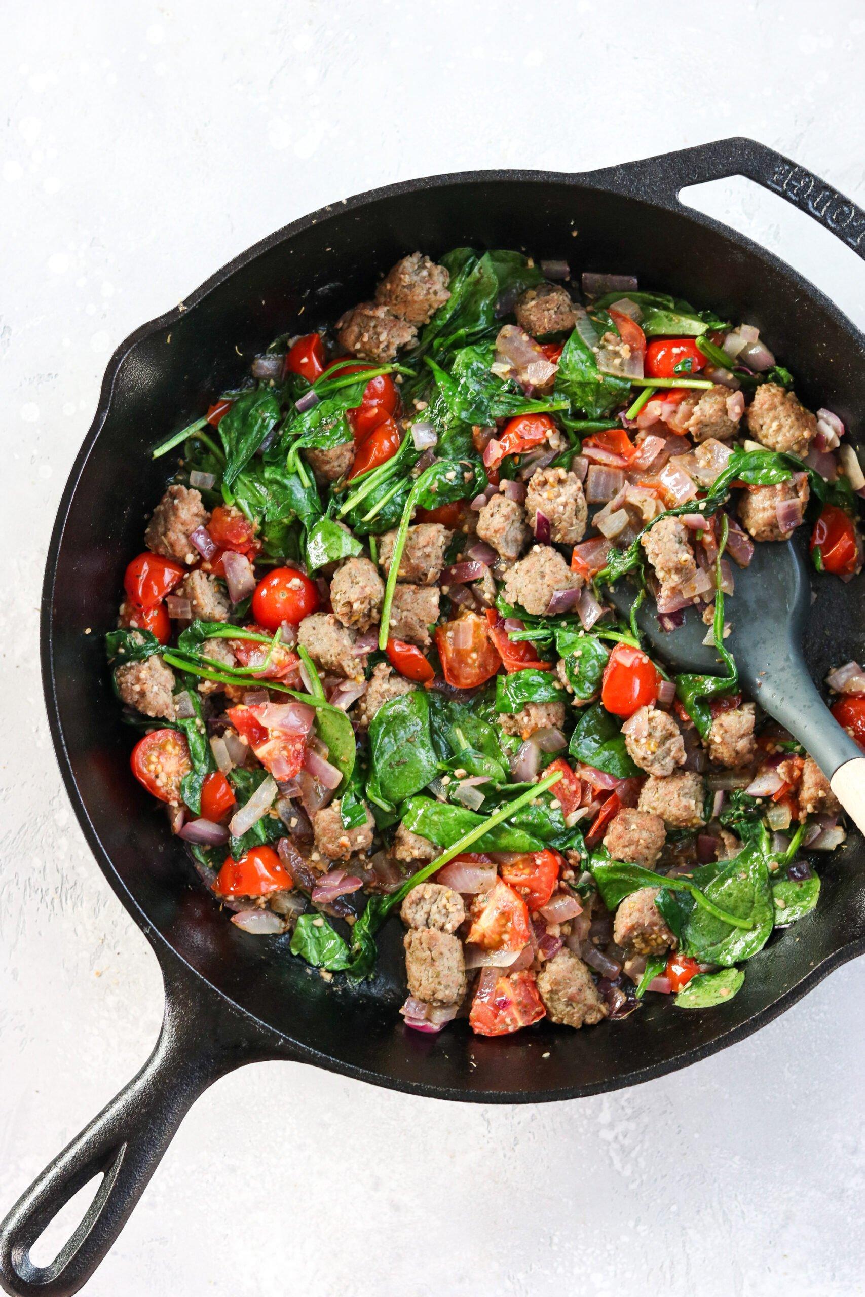Sauteed turkey sausage, tomato, and spinach