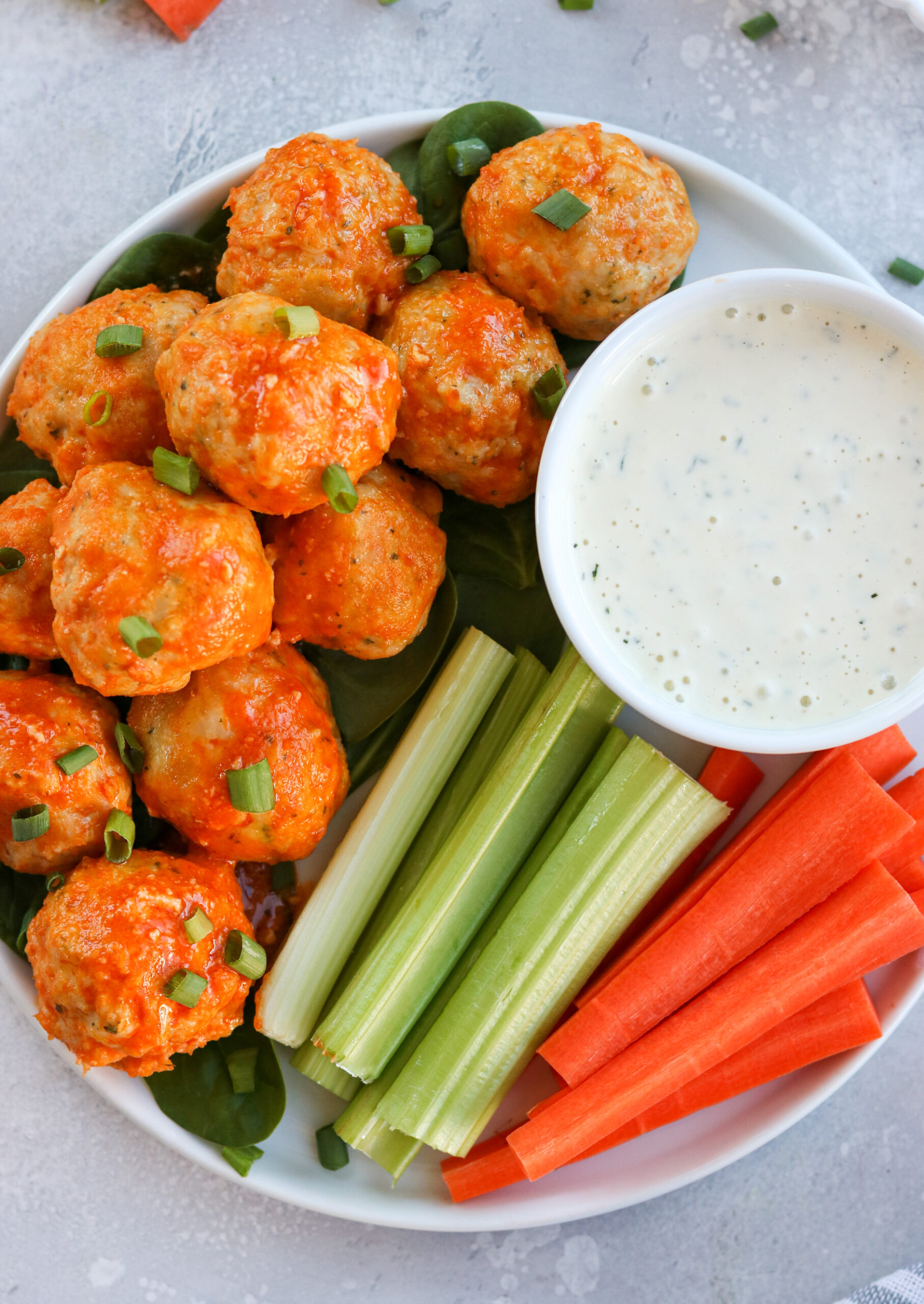 Buffalo chicken meatballs with ranch