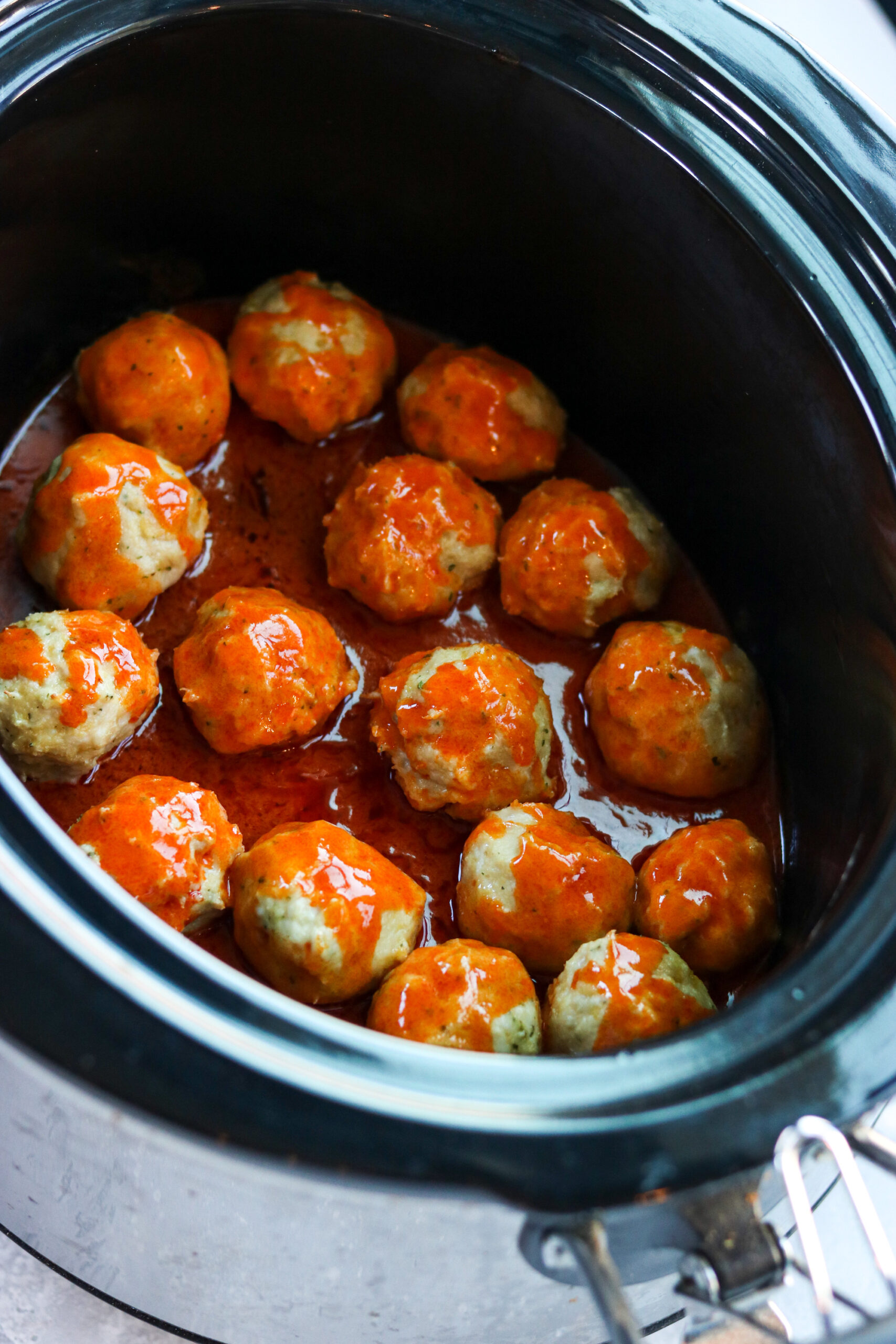 slow cooker buffalo chicken meatballs that are gluten free