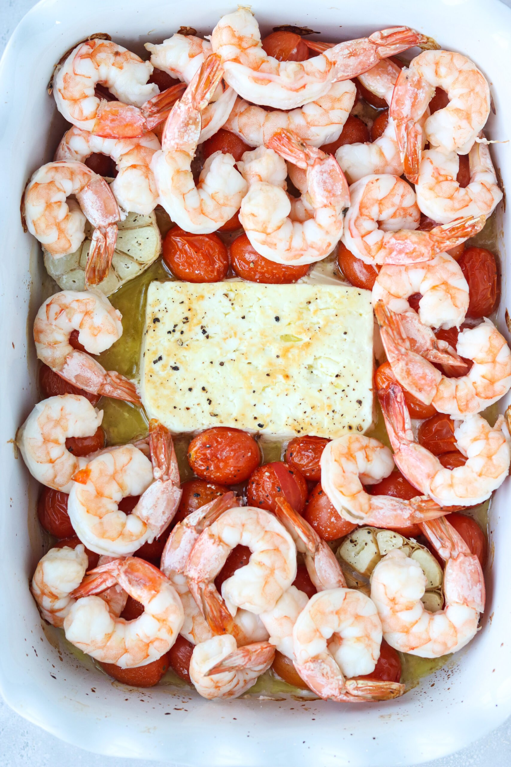 baked feta with tomatoes and shrimp