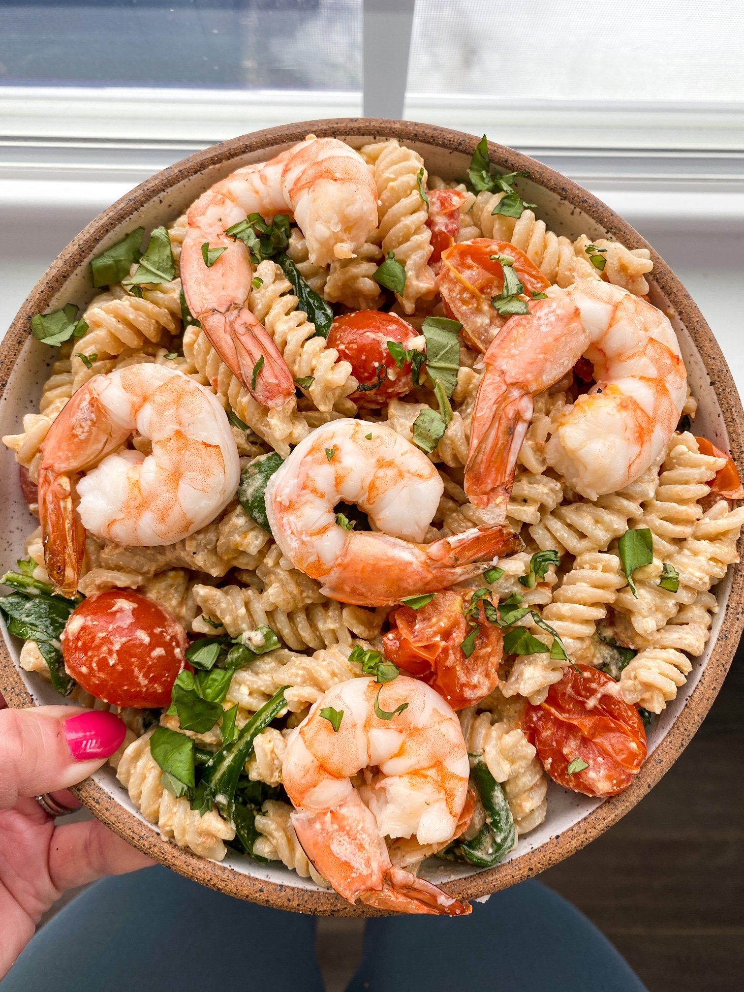 Gluten free roasted feta pasta with shrimp