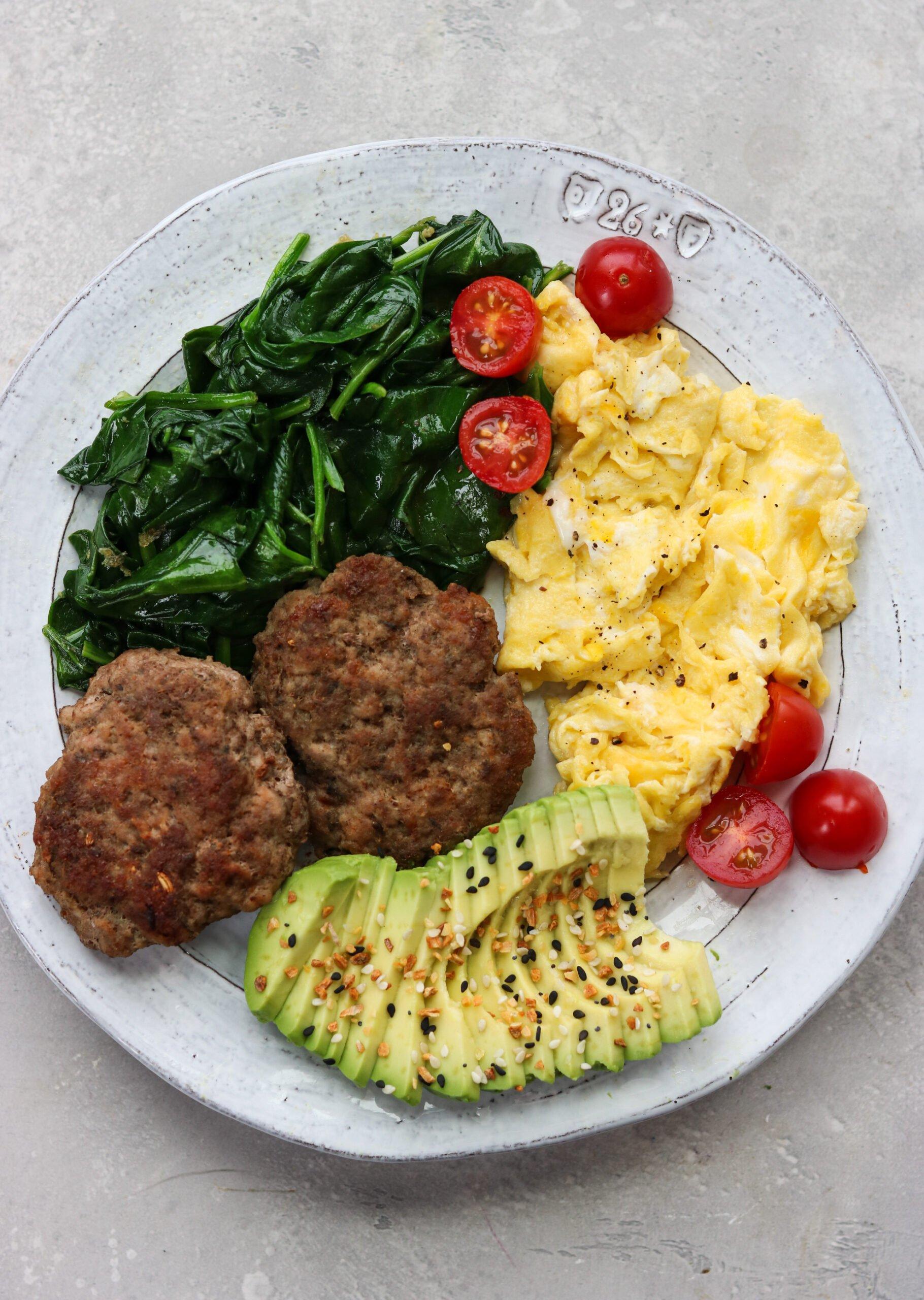 homemade sausage patties and eggs