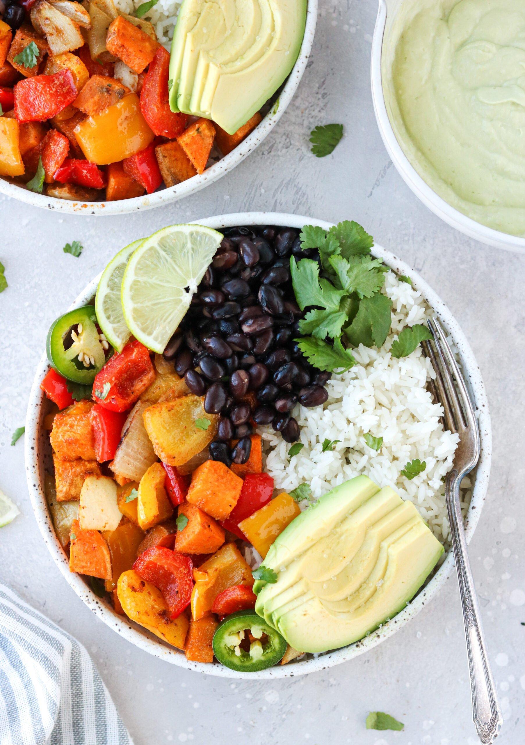 roasted veggie burrito bowls with avocado Crema