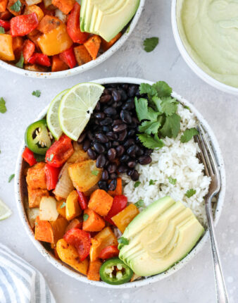 Roasted Veggie Burrito Bowls with Avocado Crema