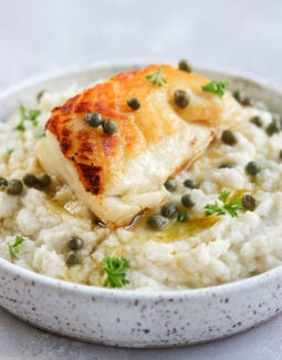 Pan Seared Chilean Sea Bass with Lemon Caper Butter