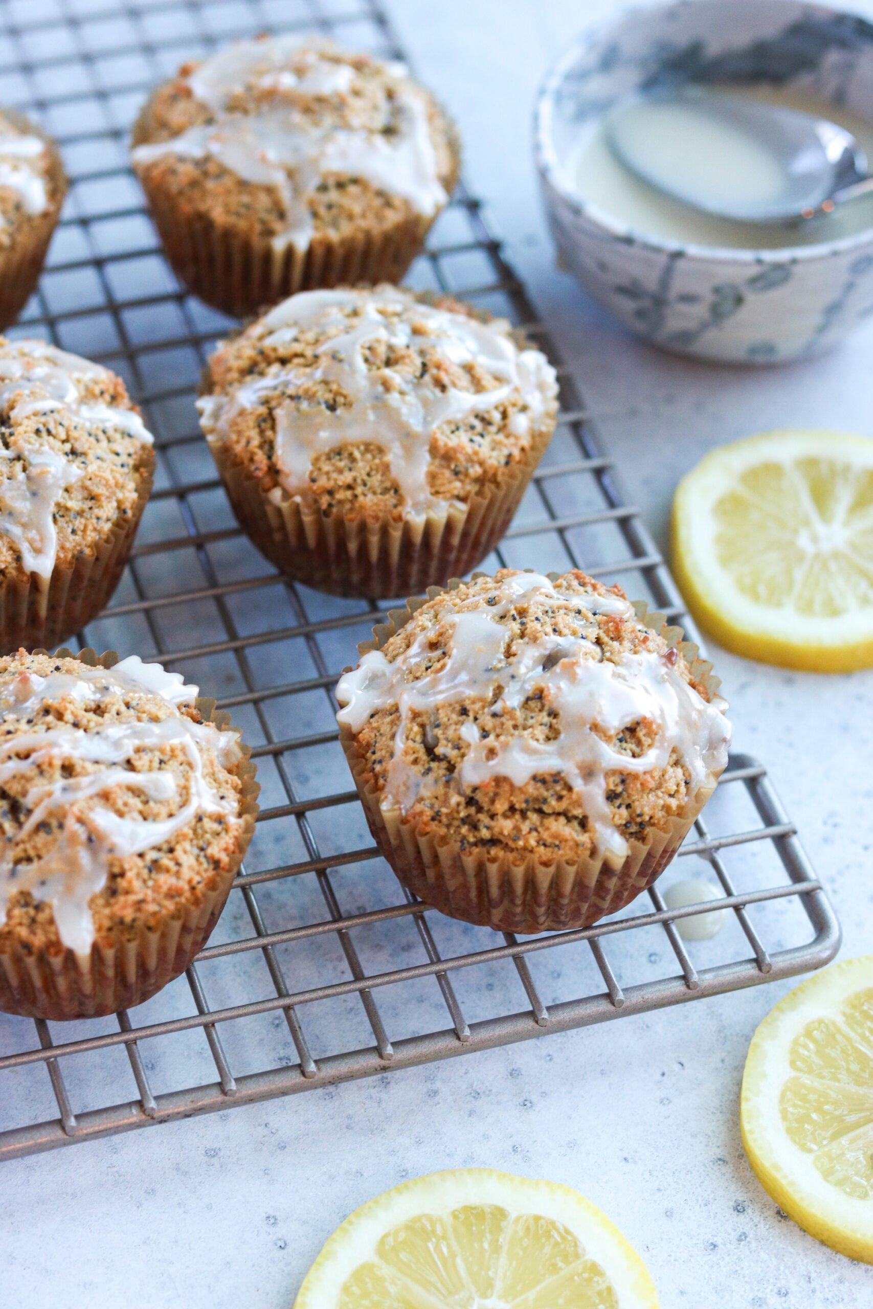 Paleo Lemon Poppyseed Muffins  on a tray