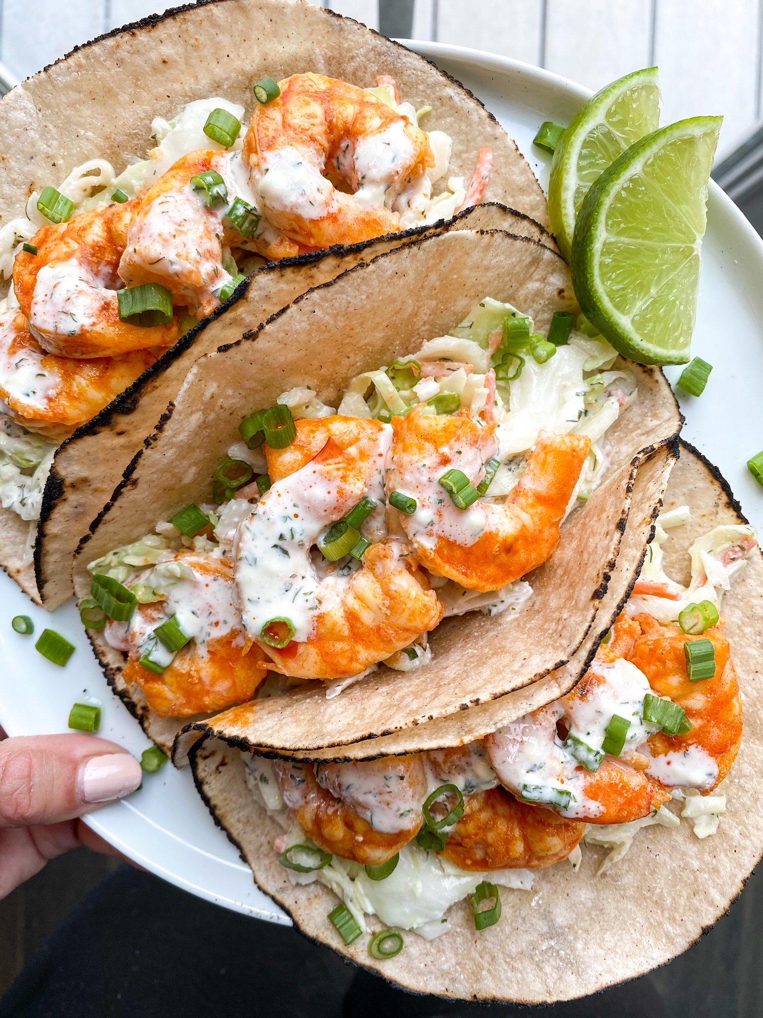 Paleo Buffalo Shrimp Tacos