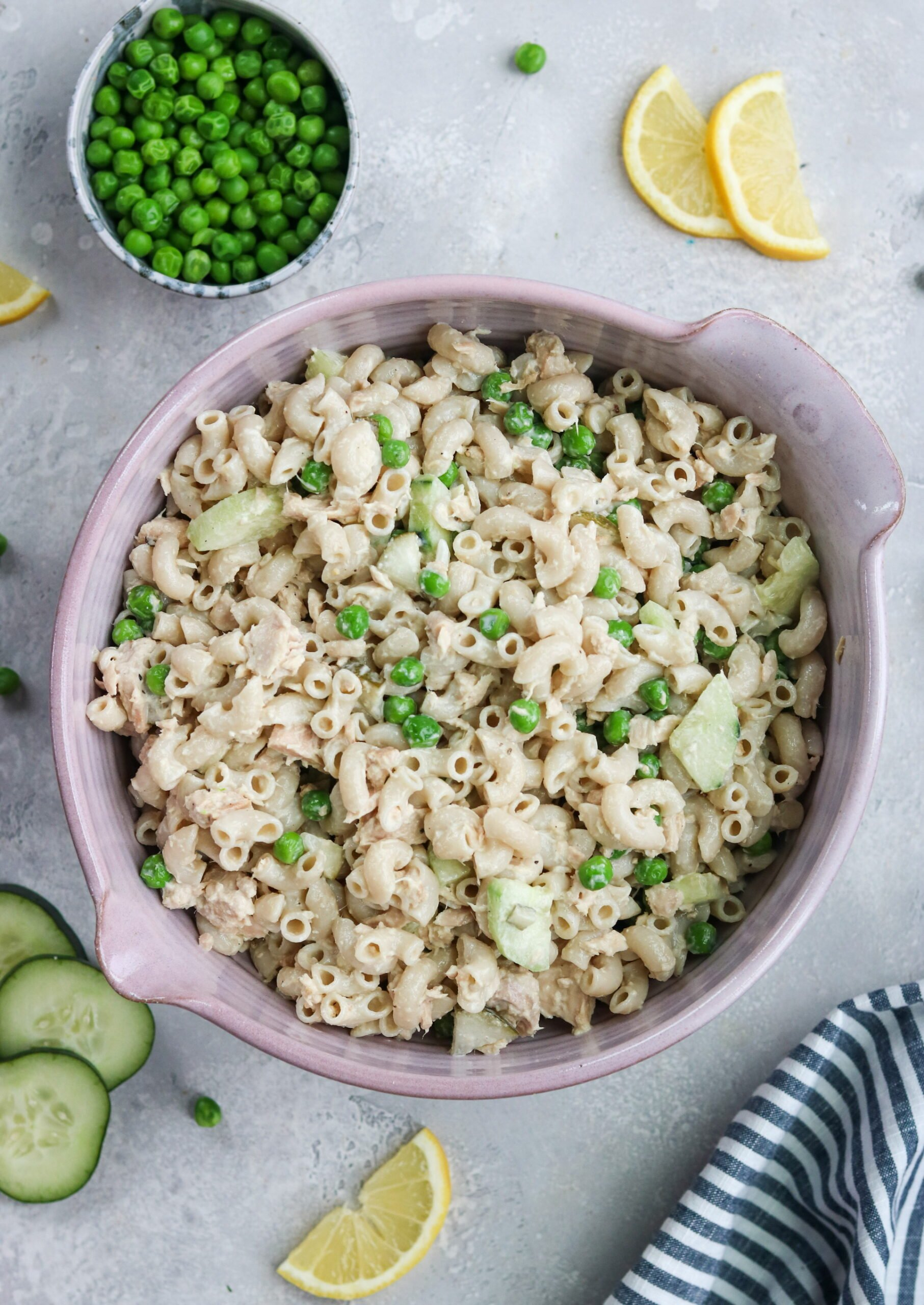 macaroni with peas, tuna, and cucumber