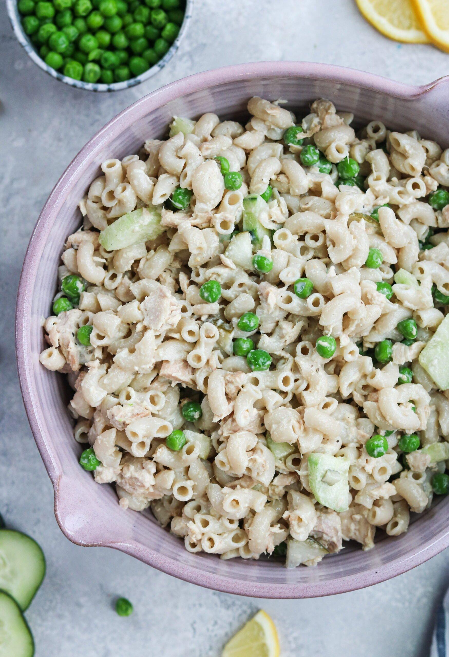 macaroni salad on a bowl