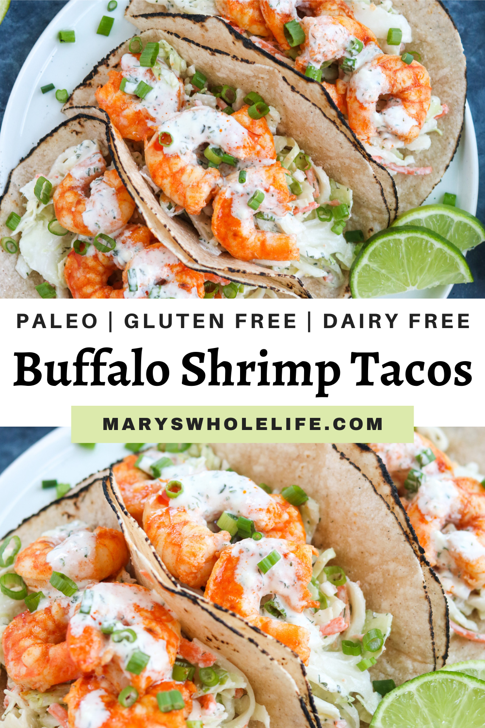 collage of Paleo Buffalo Shrimp Tacos on a white plate with text on it
