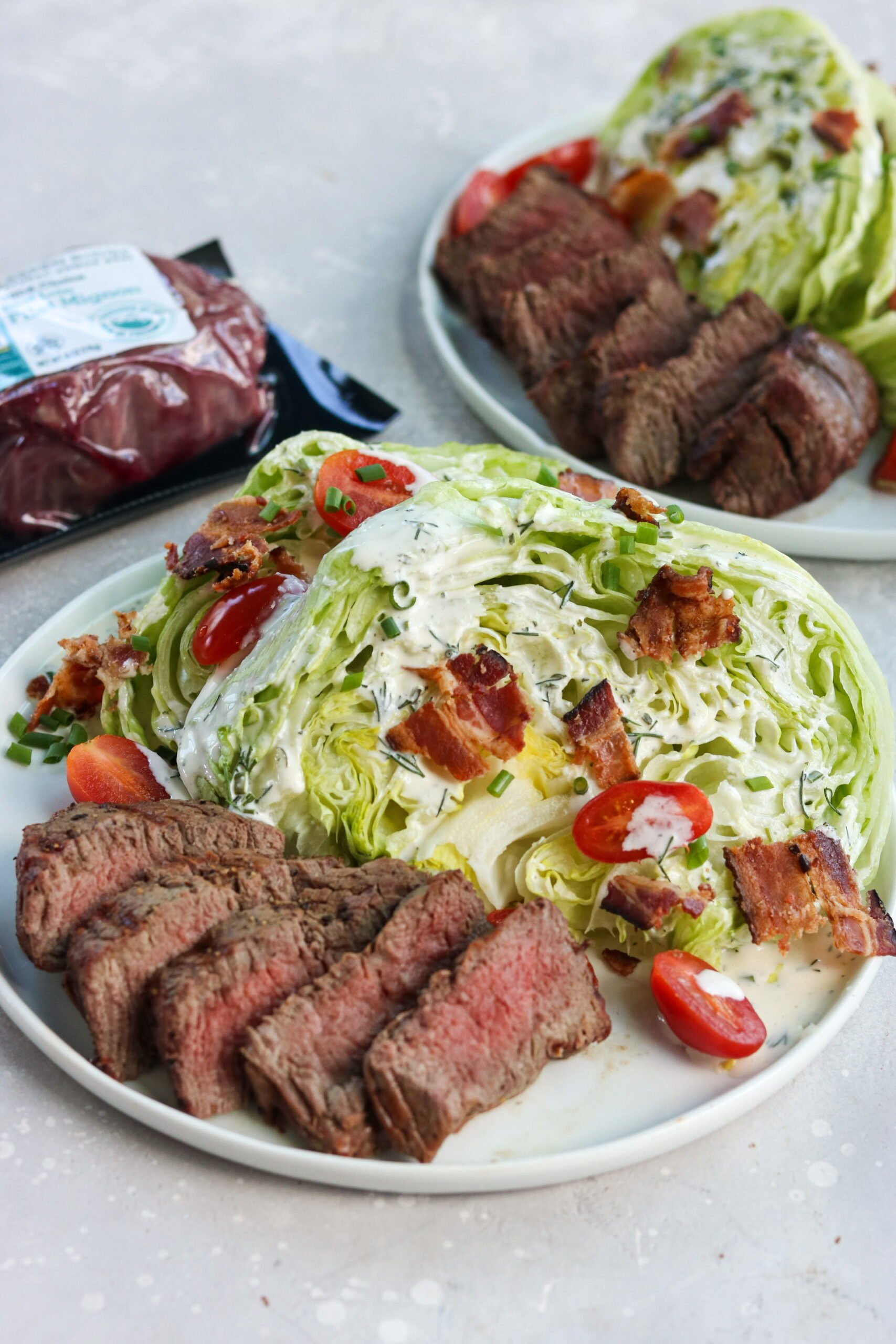 gluten free wedge salad with filet