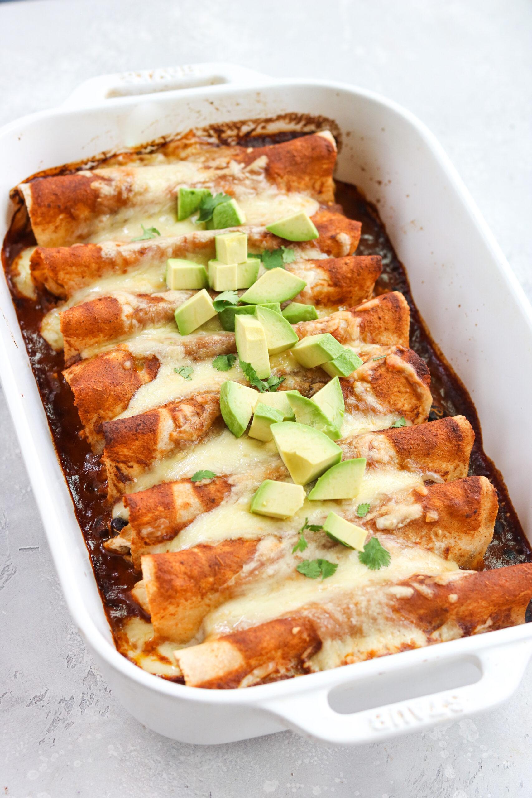 top view of a chicken enchiladas