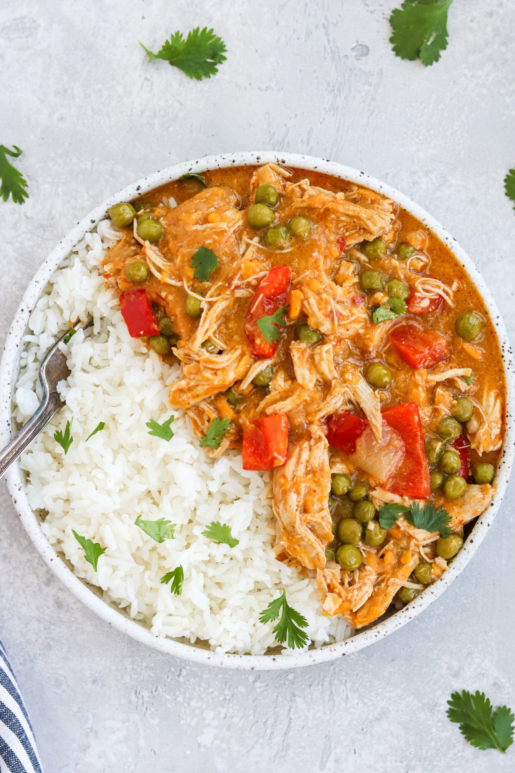 a plate of rice and Pot Chicken and Sweet Potato Curry