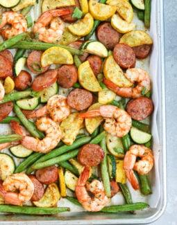 Sheet Pan Cajun Shrimp, Sausage and Veggies