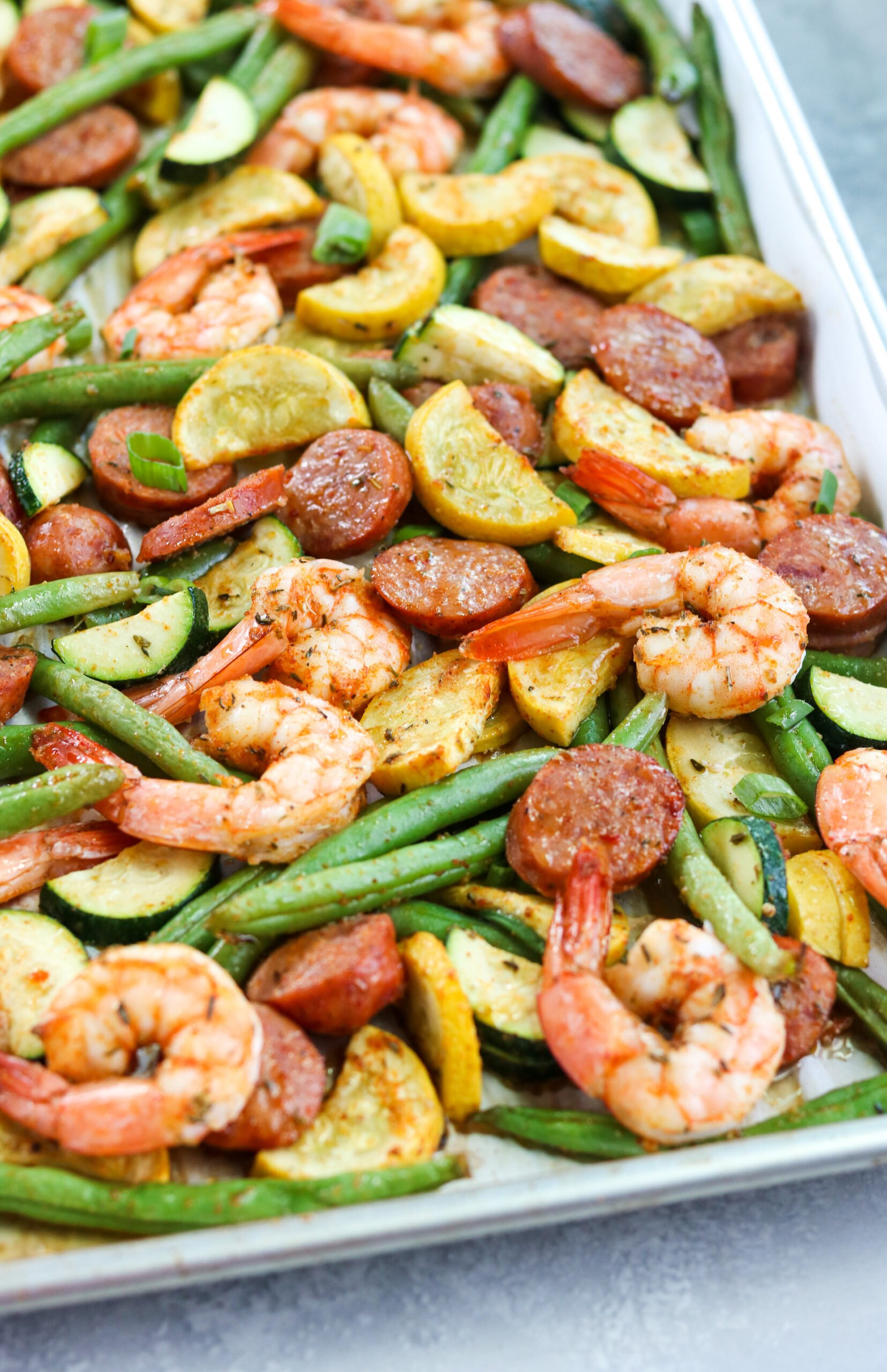 top view of seafood and vegetables in a pan
