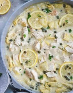 Creamy Lemon Artichoke Chicken Skillet