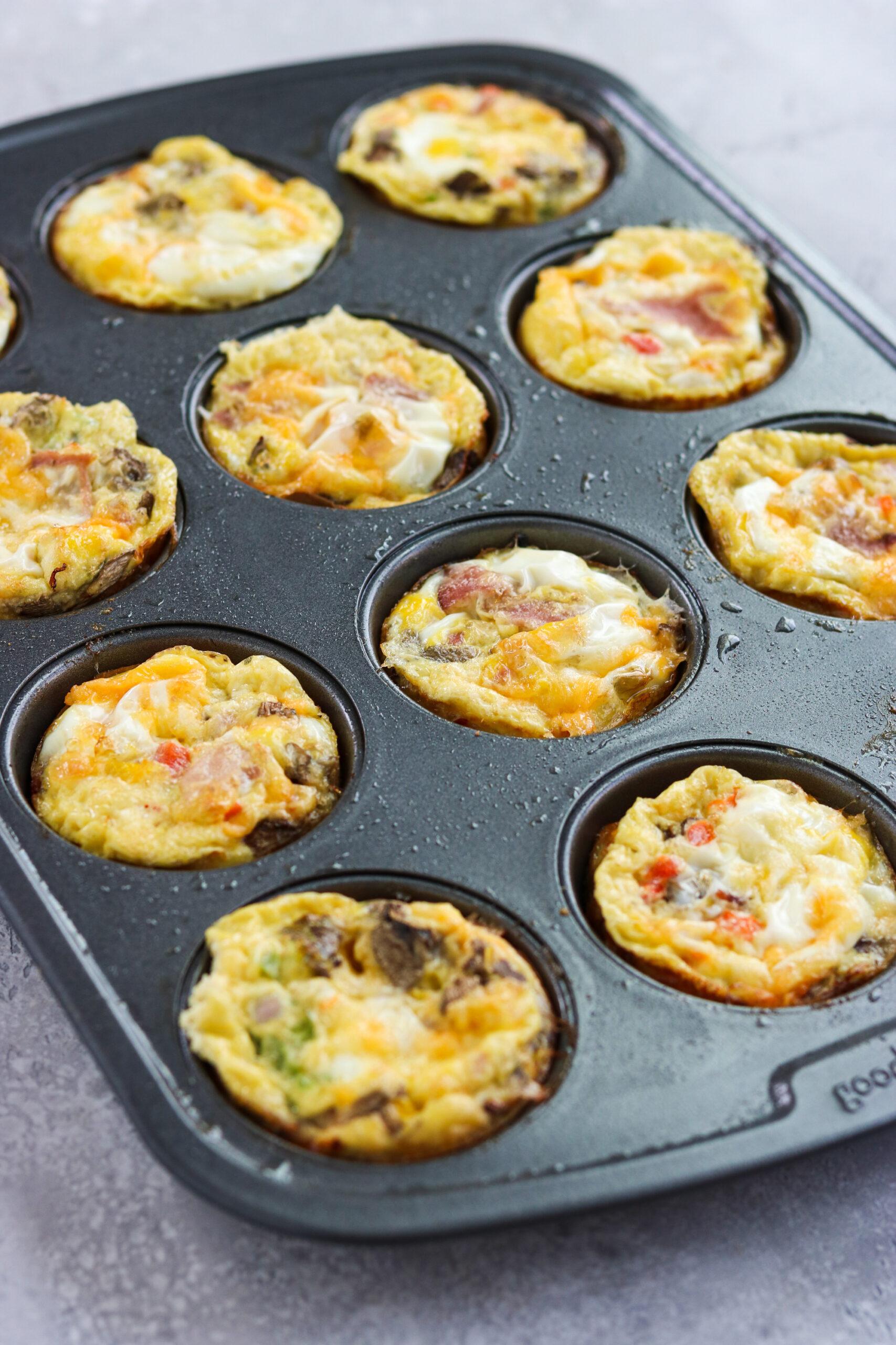 Western Omelette Egg Bites on a baking pan