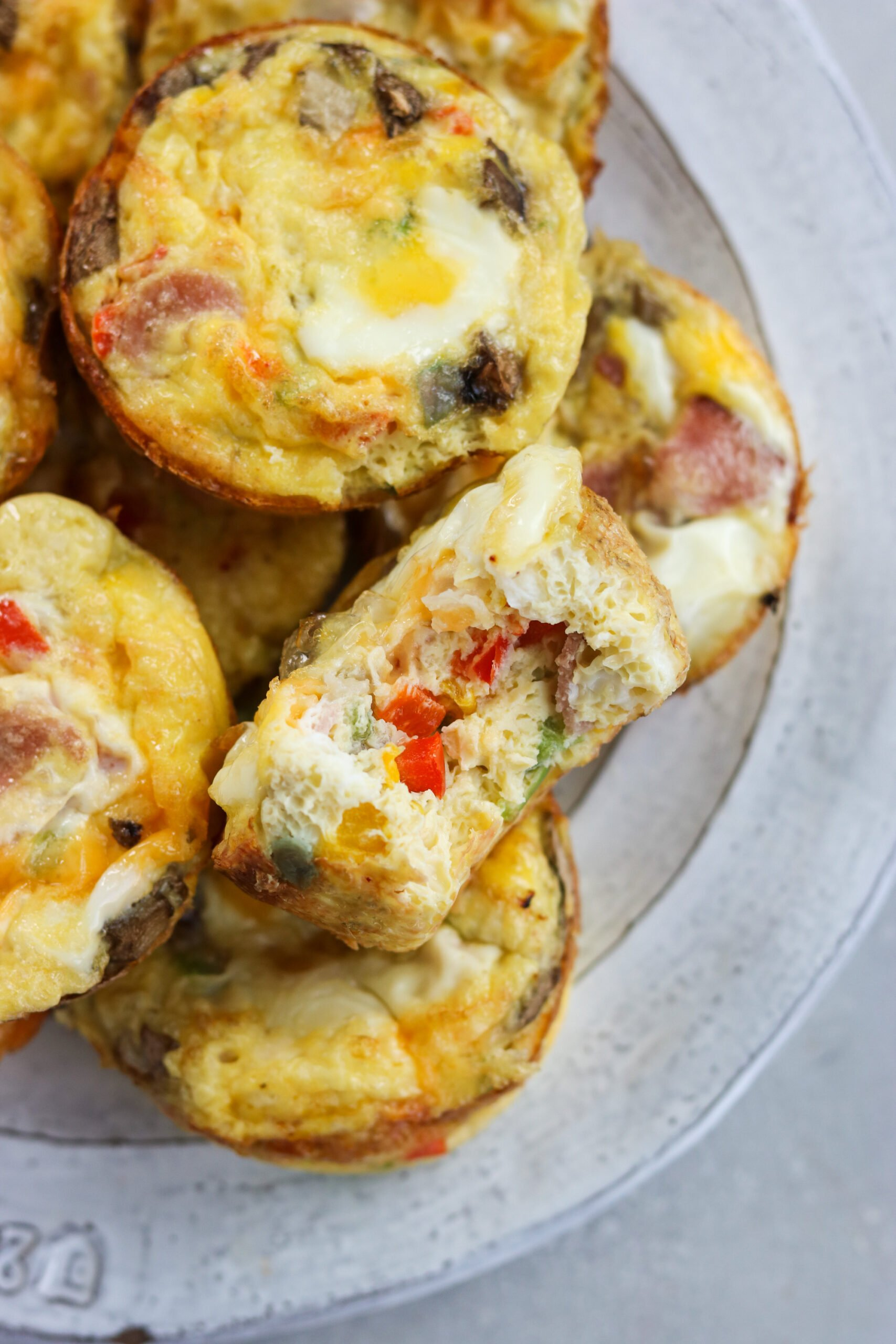 Western Omelette Egg Bites on a white plate