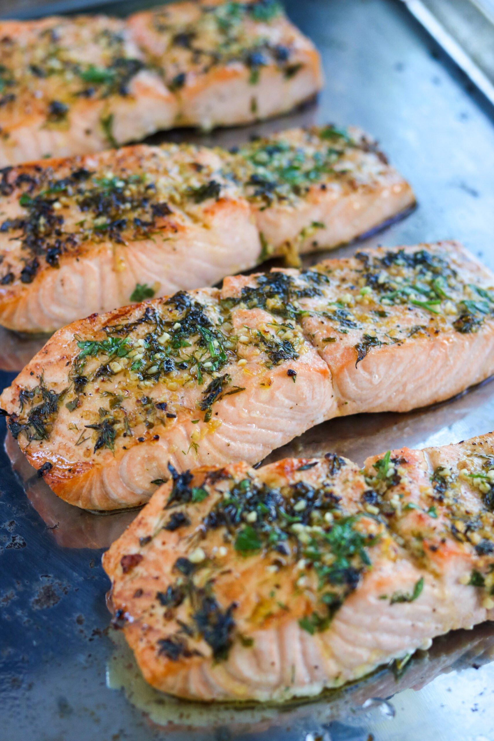 garlic herb baked salmon on a sheet pan