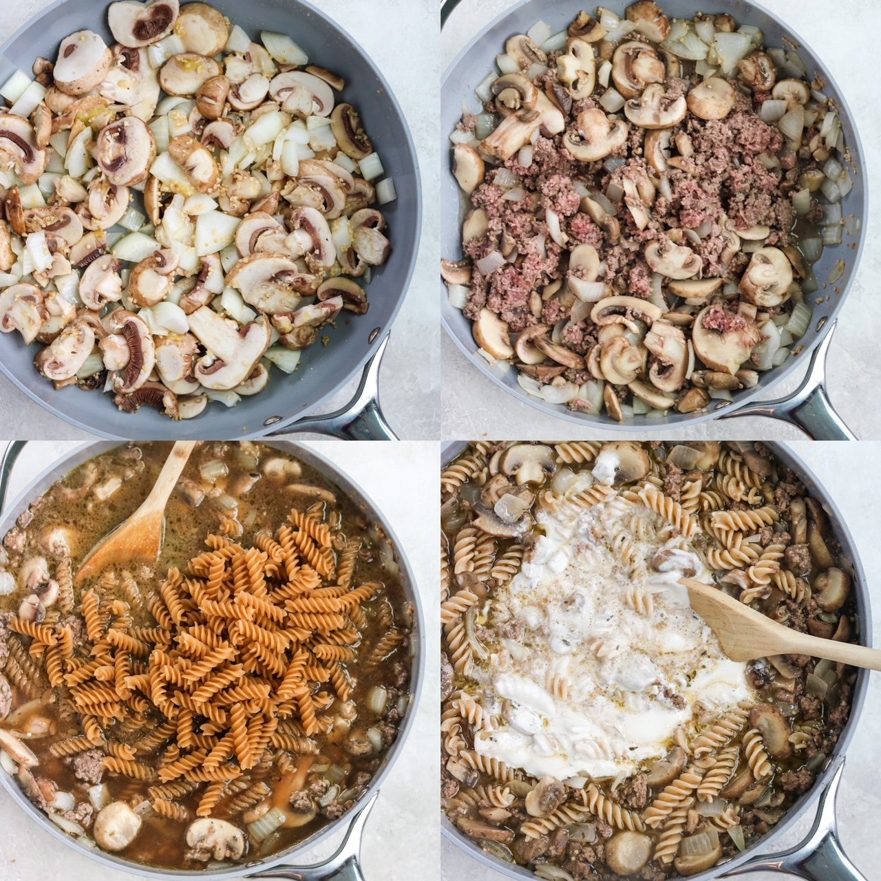step by step photo broken into four quadrants to show how to make beef stroganoff