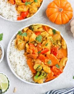Paleo Pumpkin Curry in a white bowl