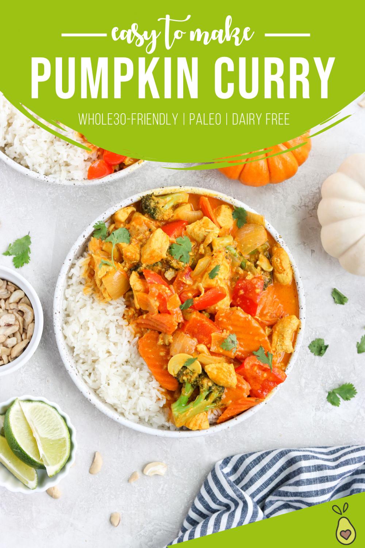 Pinterest image for Paleo Pumpkin Curry Chicken
